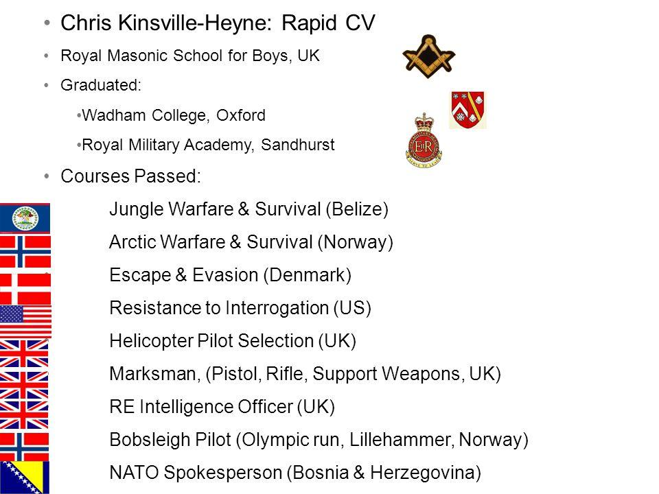 Chris Kinsville-Heyne: Rapid CV Royal Masonic School for Boys, UK Graduated: Wadham College, Oxford Royal Military Academy, Sandhurst Courses Passed: