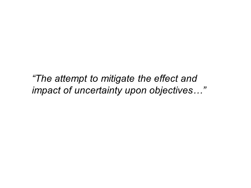 The attempt to mitigate the effect and impact of uncertainty upon objectives…