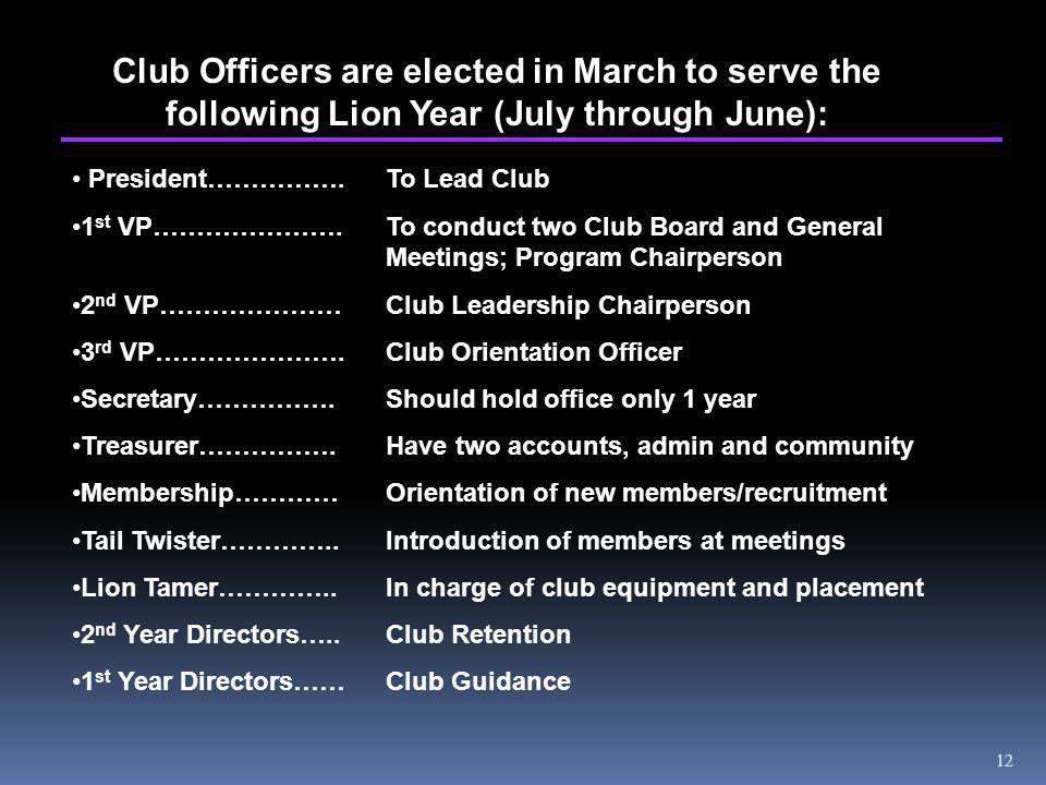 12 Club Officers are elected in March to serve the following Lion Year (July through June): President…………….To Lead Club 1 st VP………………….To conduct two