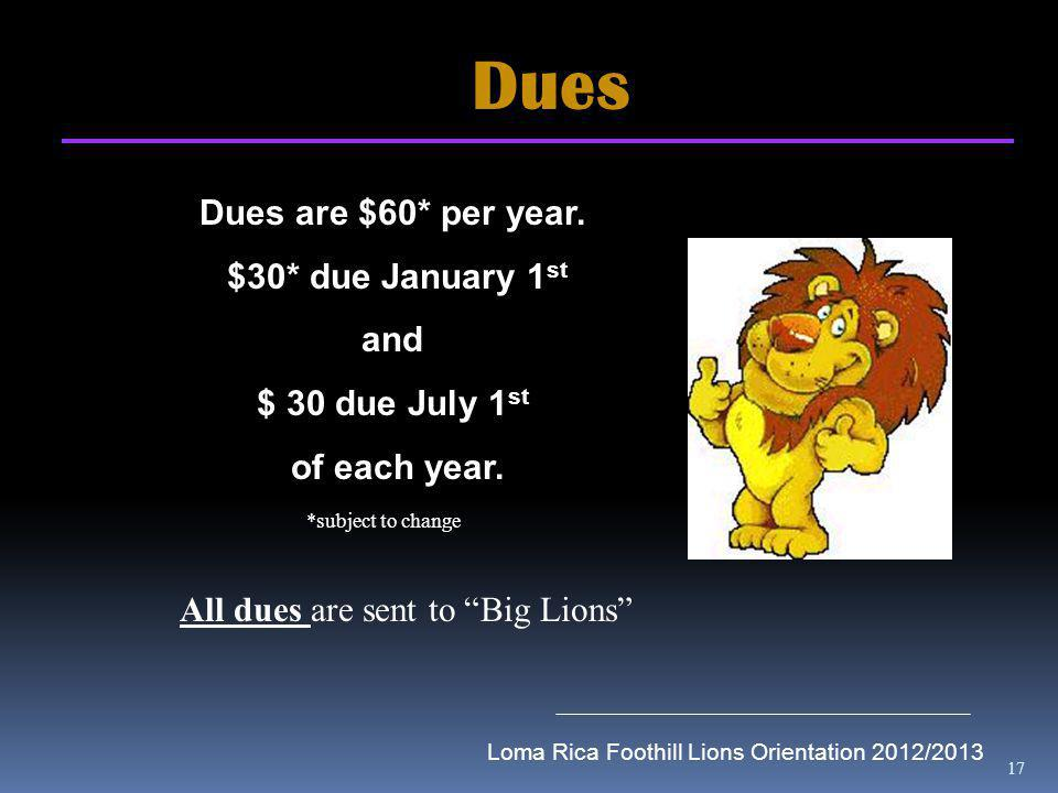 17 Dues Dues are $60* per year. $30* due January 1 st and $ 30 due July 1 st of each year.
