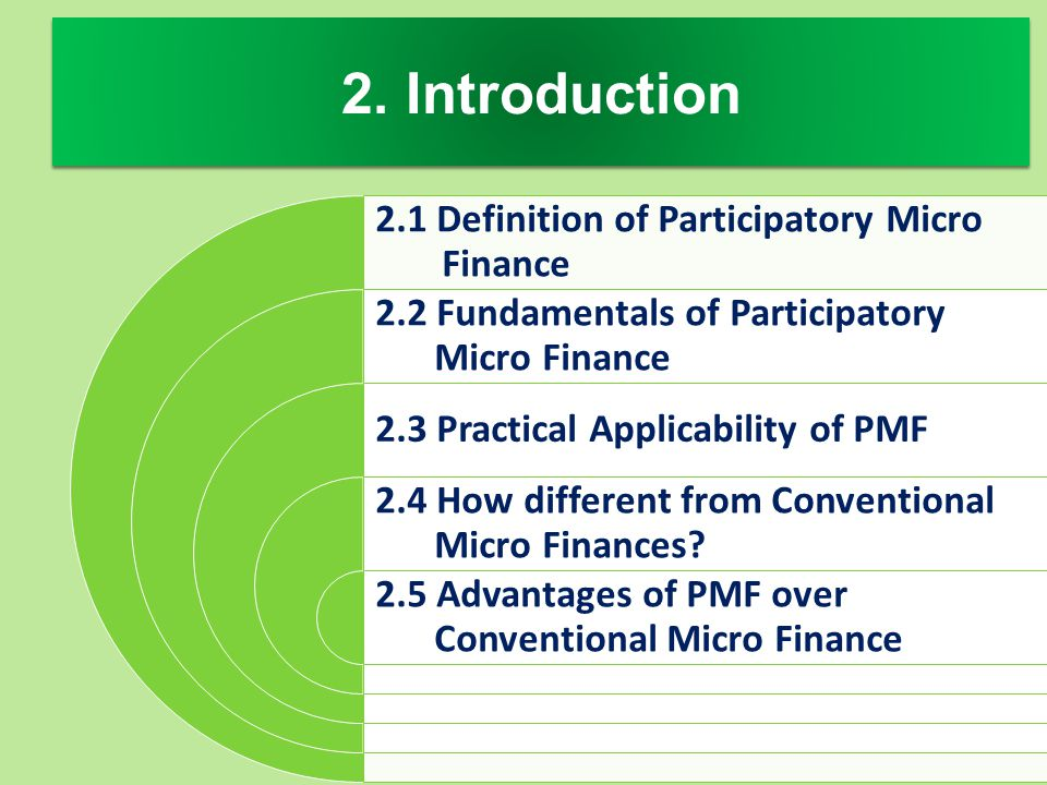 2. Introduction 2.1 Definition of Participatory Micro Finance 2.2 Fundamentals of Participatory Micro Finance 2.3 Practical Applicability of PMF 2.4 H