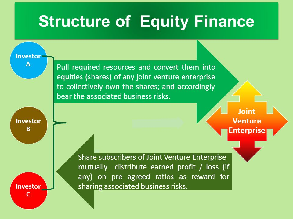 Structure of Equity Finance Investor A Investor B Investor C Joint Venture Enterprise Pull required resources and convert them into equities (shares)
