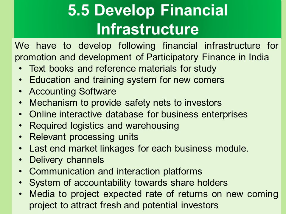 5.5 Develop Financial Infrastructure We have to develop following financial infrastructure for promotion and development of Participatory Finance in I