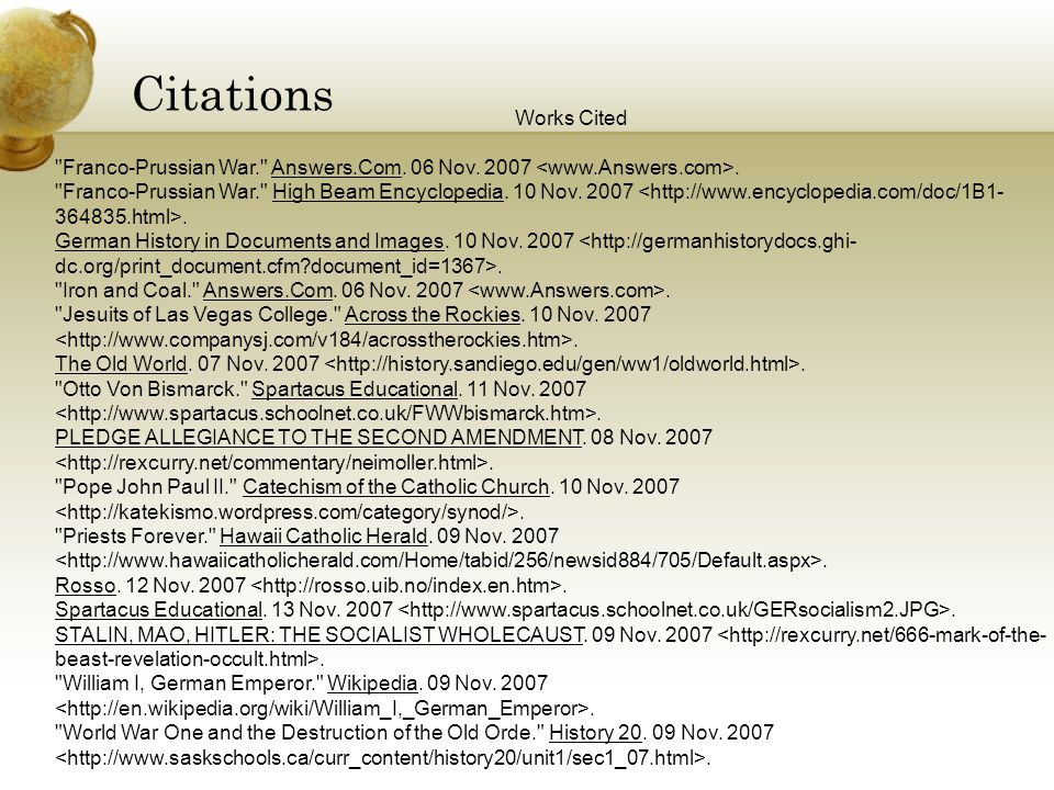 Citations Works Cited