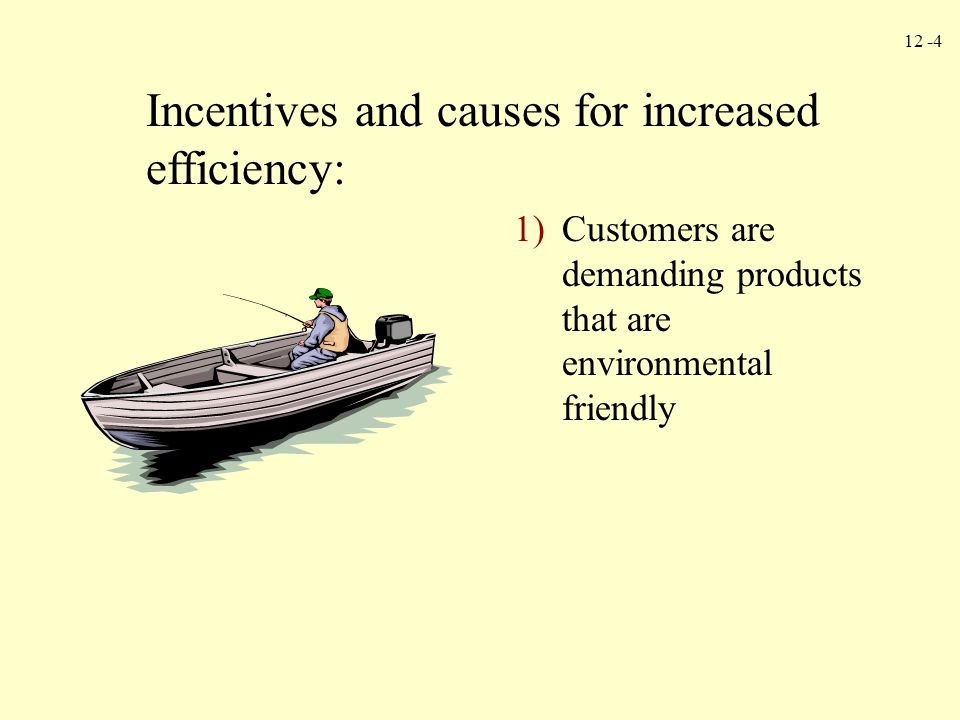 12 -4 Incentives and causes for increased efficiency: 1)Customers are demanding products that are environmental friendly
