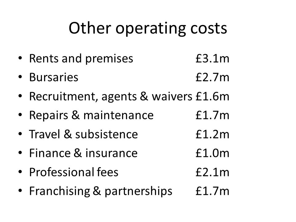 Other operating costs Rents and premises£3.1m Bursaries£2.7m Recruitment, agents & waivers£1.6m Repairs & maintenance £1.7m Travel & subsistence £1.2m