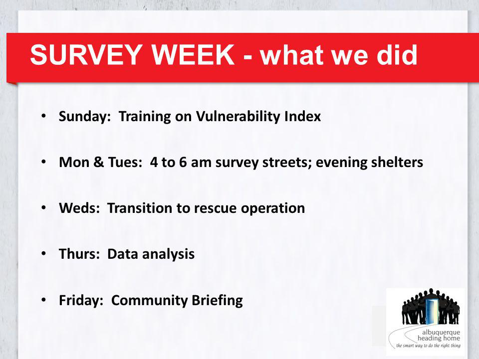 SURVEY WEEK - what we did Sunday: Training on Vulnerability Index Mon & Tues: 4 to 6 am survey streets; evening shelters Weds: Transition to rescue operation Thurs: Data analysis Friday: Community Briefing