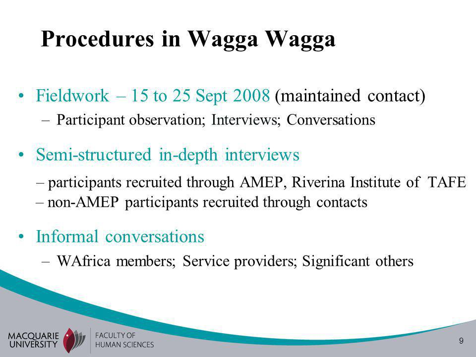 9 Procedures in Wagga Wagga Fieldwork – 15 to 25 Sept 2008 (maintained contact) –Participant observation; Interviews; Conversations Semi-structured in