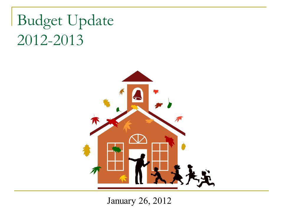 Budget Update 2012-2013 January 26, 2012
