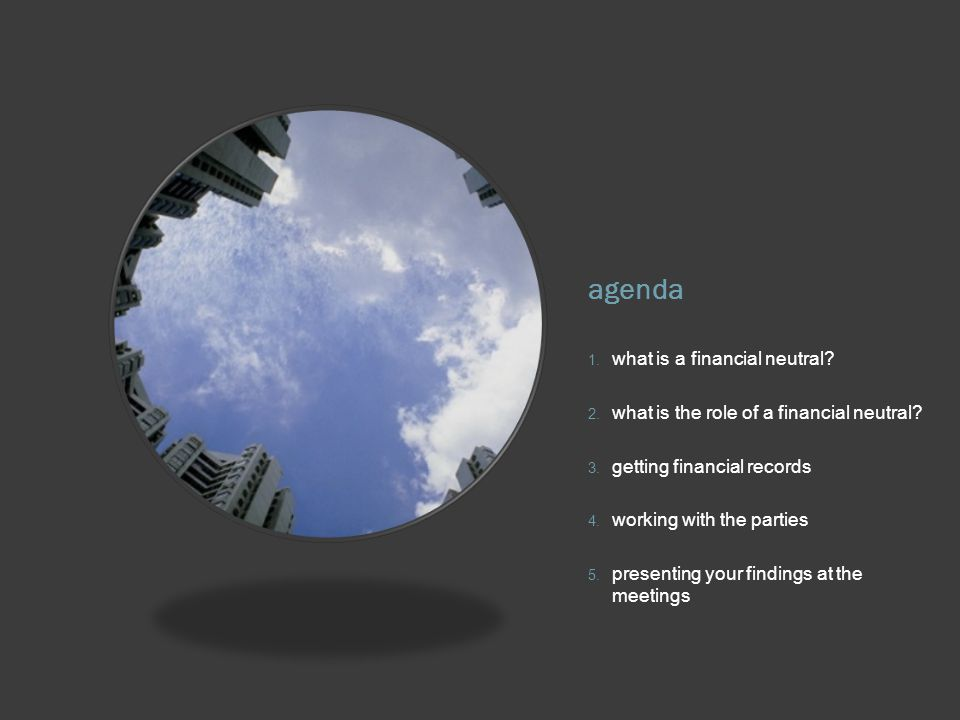 agenda 1. what is a financial neutral. 2. what is the role of a financial neutral.