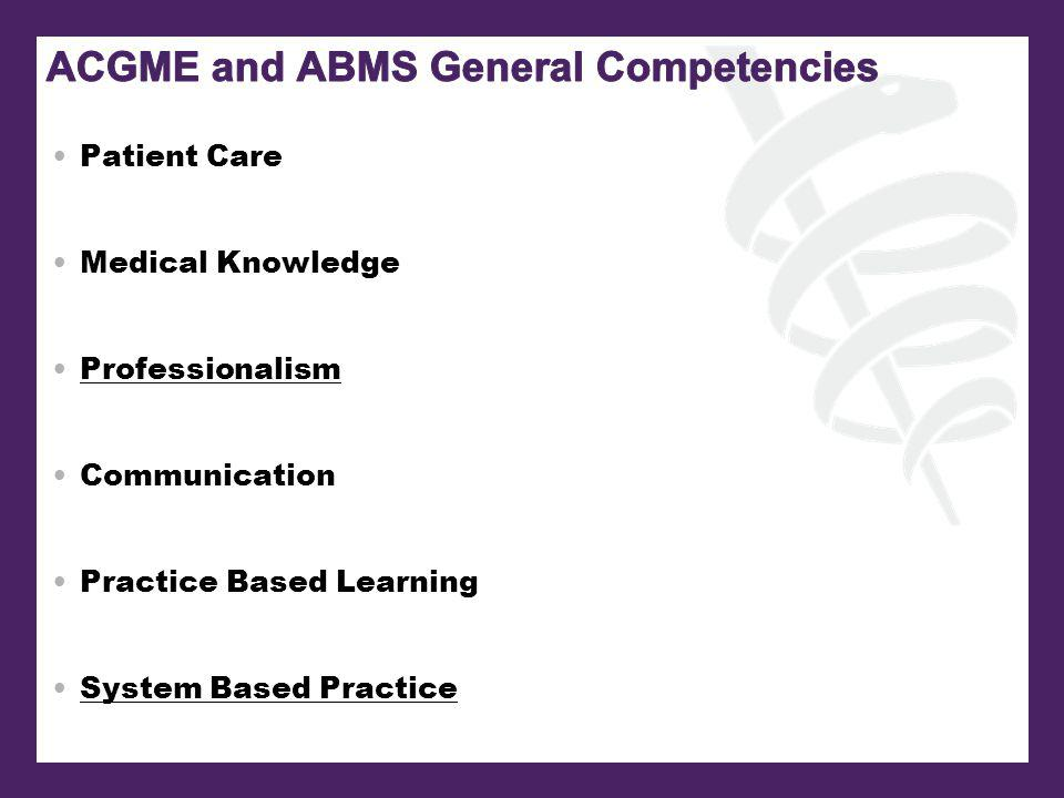 Patient Care Medical Knowledge Professionalism Communication Practice Based Learning System Based Practice