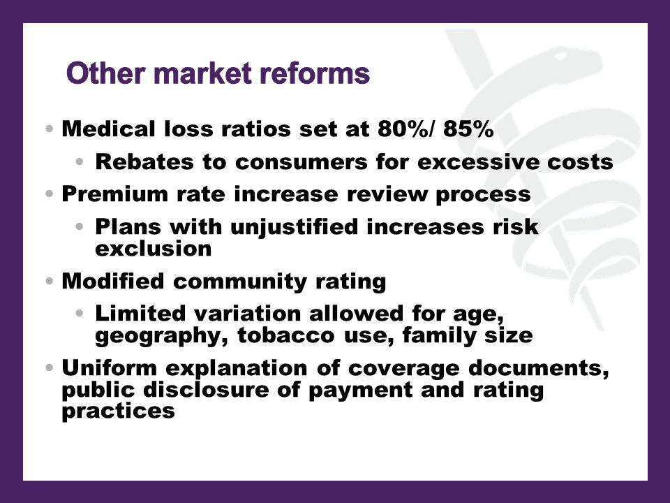 Medical loss ratios set at 80%/ 85% Rebates to consumers for excessive costs Premium rate increase review process Plans with unjustified increases risk exclusion Modified community rating Limited variation allowed for age, geography, tobacco use, family size Uniform explanation of coverage documents, public disclosure of payment and rating practices