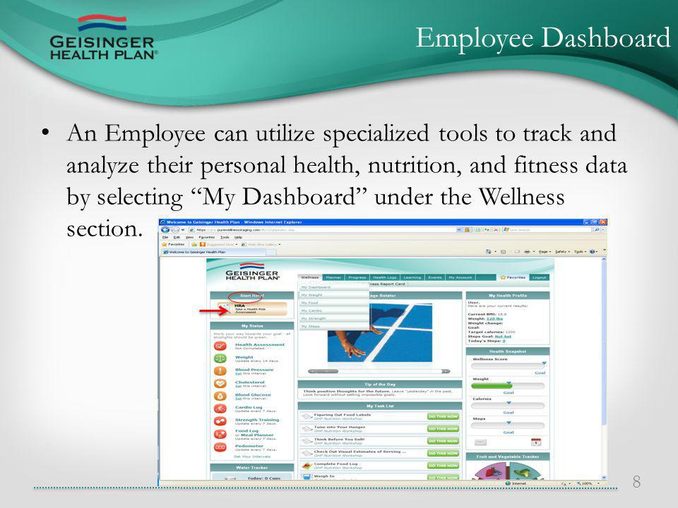 An Employee can utilize specialized tools to track and analyze their personal health, nutrition, and fitness data by selecting My Dashboard under the Wellness section.