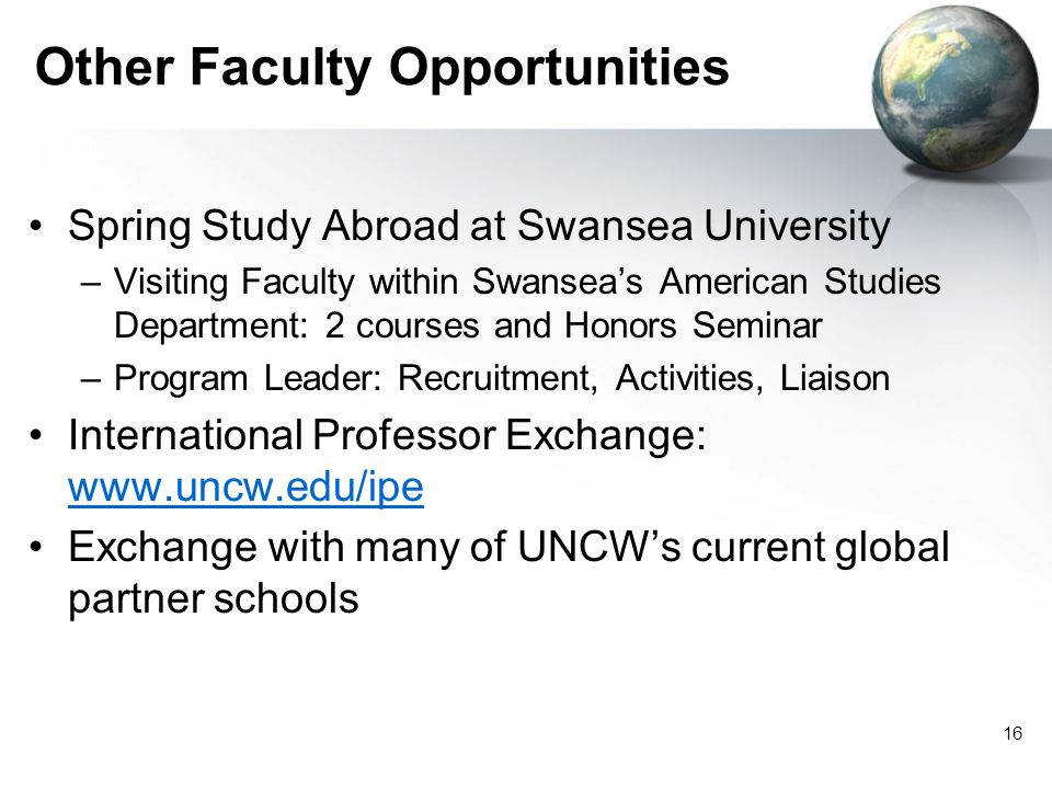 Other Faculty Opportunities Spring Study Abroad at Swansea University –Visiting Faculty within Swanseas American Studies Department: 2 courses and Honors Seminar –Program Leader: Recruitment, Activities, Liaison International Professor Exchange: www.uncw.edu/ipe www.uncw.edu/ipe Exchange with many of UNCWs current global partner schools 16