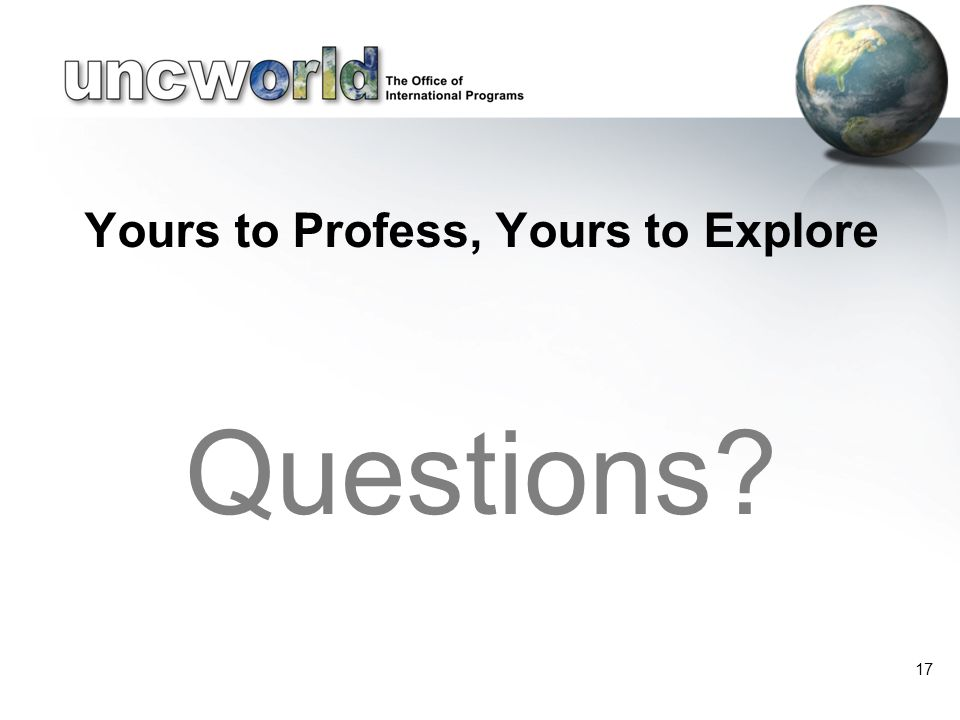 Yours to Profess, Yours to Explore Questions 17