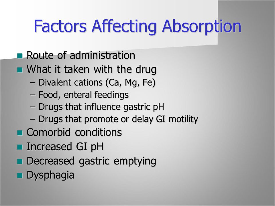 Factors Affecting Absorption Route of administration Route of administration What it taken with the drug What it taken with the drug –Divalent cations