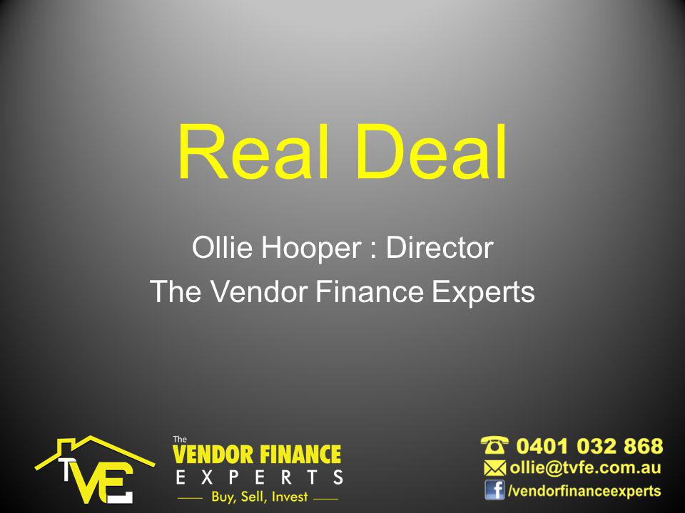 Real Deal Ollie Hooper : Director The Vendor Finance Experts