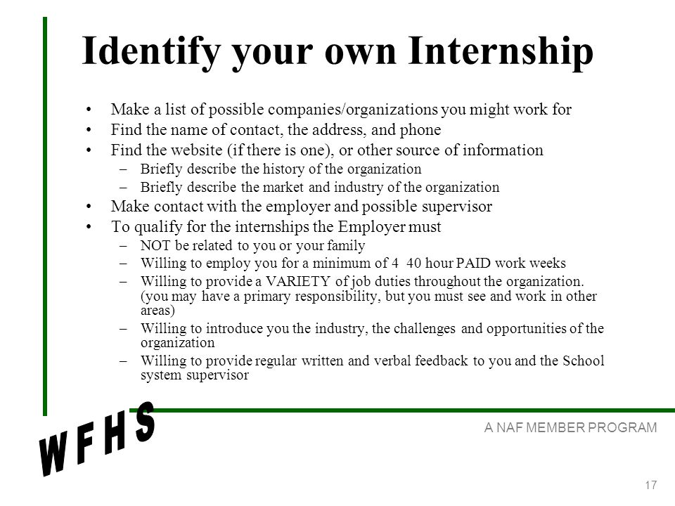 A NAF MEMBER PROGRAM 17 Identify your own Internship Make a list of possible companies/organizations you might work for Find the name of contact, the address, and phone Find the website (if there is one), or other source of information –Briefly describe the history of the organization –Briefly describe the market and industry of the organization Make contact with the employer and possible supervisor To qualify for the internships the Employer must –NOT be related to you or your family –Willing to employ you for a minimum of 4 40 hour PAID work weeks –Willing to provide a VARIETY of job duties throughout the organization.