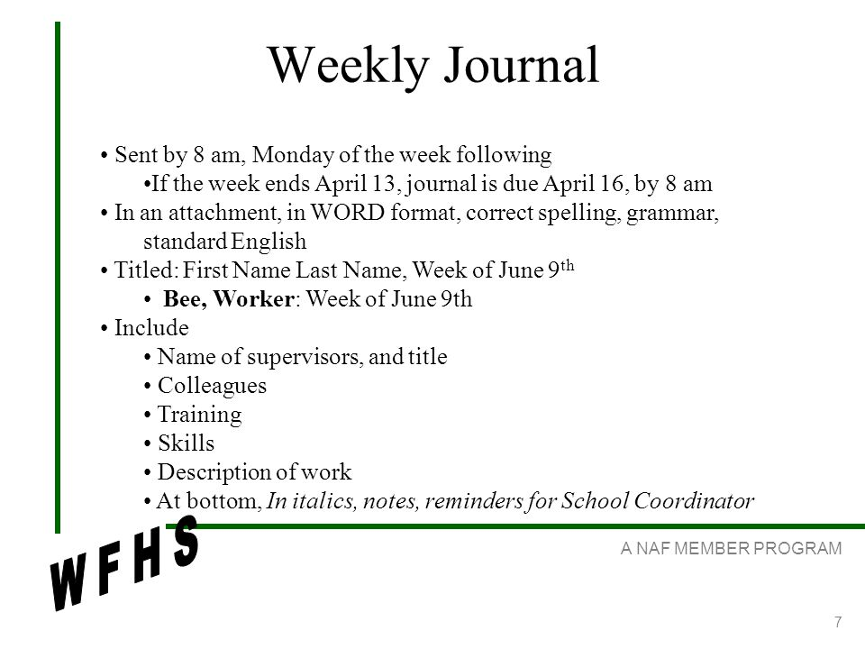 A NAF MEMBER PROGRAM 7 Weekly Journal Sent by 8 am, Monday of the week following If the week ends April 13, journal is due April 16, by 8 am In an attachment, in WORD format, correct spelling, grammar, standard English Titled: First Name Last Name, Week of June 9 th Bee, Worker: Week of June 9th Include Name of supervisors, and title Colleagues Training Skills Description of work At bottom, In italics, notes, reminders for School Coordinator