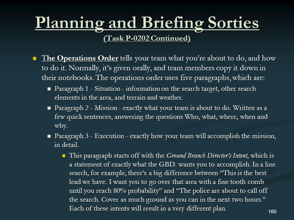Planning and Briefing Sorties (Task P-0202 Continued) The Operations Order tells your team what youre about to do, and how to do it. Normally, its giv