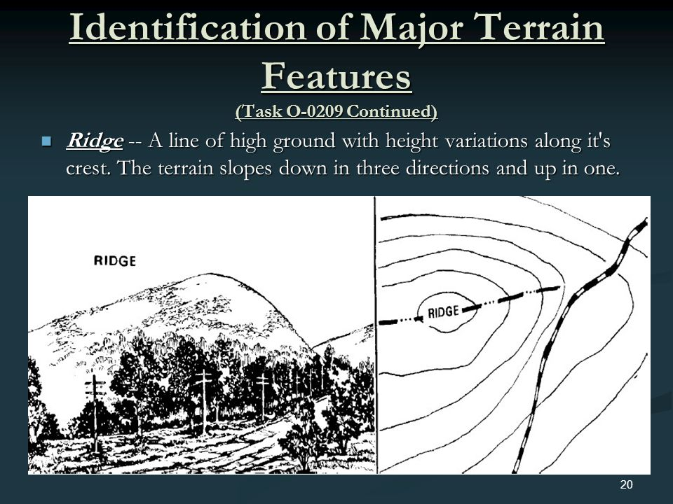 Identification of Major Terrain Features (Task O-0209 Continued) Ridge -- A line of high ground with height variations along it's crest. The terrain s