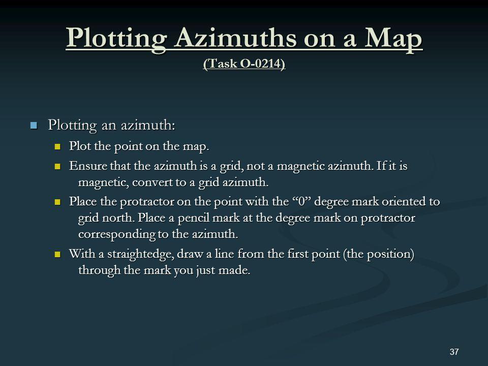 Plotting Azimuths on a Map (Task O-0214) Plotting an azimuth: Plotting an azimuth: Plot the point on the map. Plot the point on the map. Ensure that t