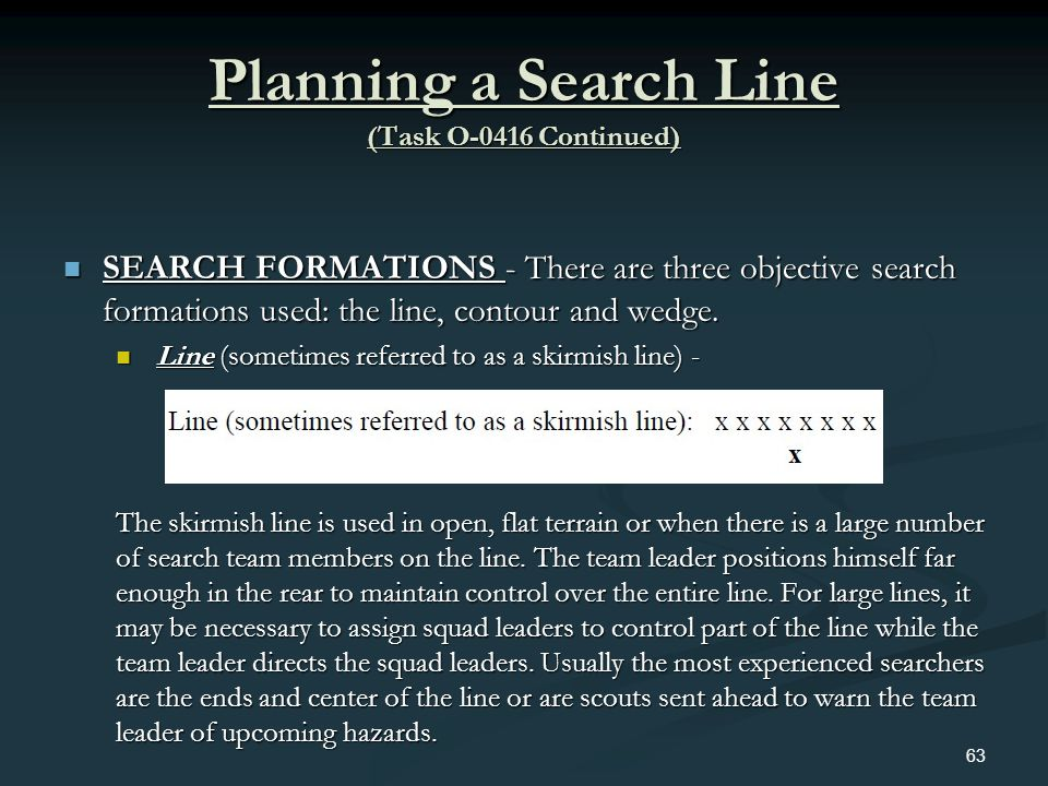 Planning a Search Line (Task O-0416 Continued) SEARCH FORMATIONS - There are three objective search formations used: the line, contour and wedge. SEAR