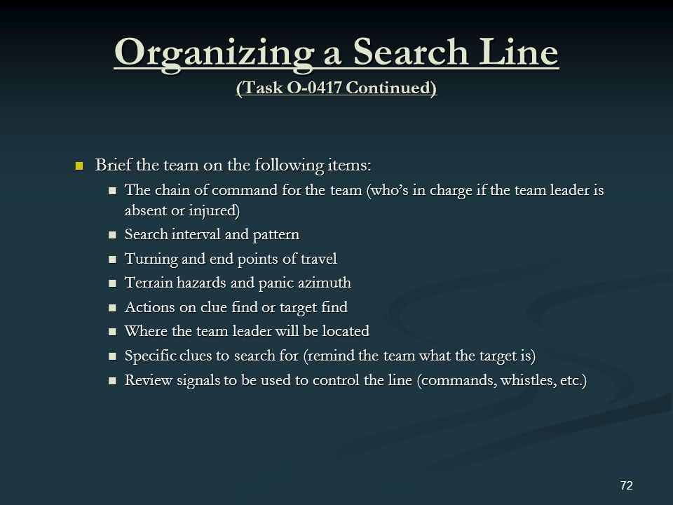 Organizing a Search Line (Task O-0417 Continued) Brief the team on the following items: Brief the team on the following items: The chain of command fo