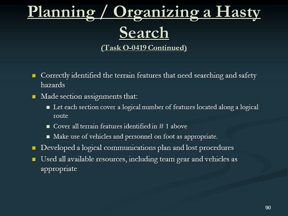 Planning / Organizing a Hasty Search (Task O-0419 Continued) Correctly identified the terrain features that need searching and safety hazards Correctl