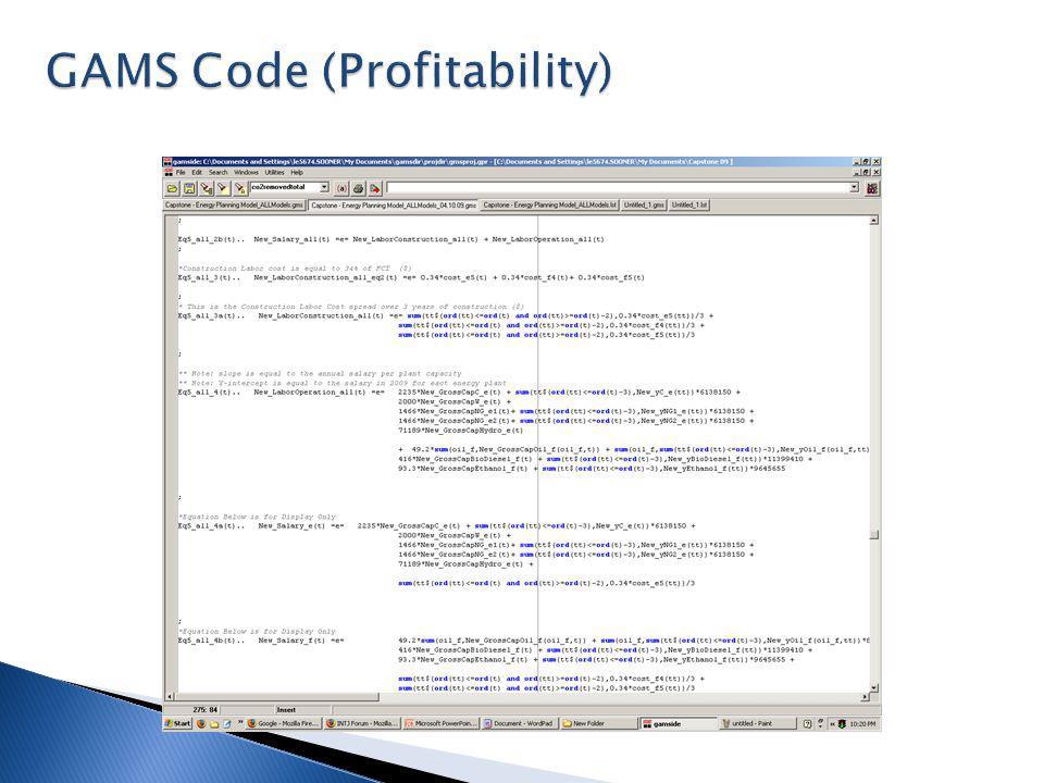 GAMS Code (Fuel Model)