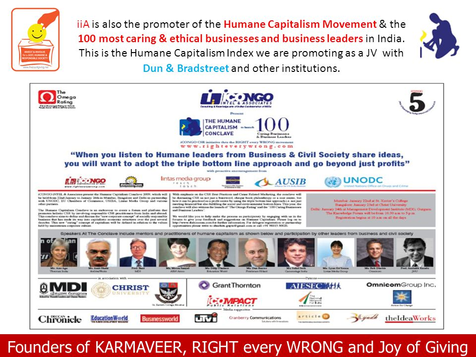 Founders of KARMAVEER, RIGHT every WRONG and Joy of Giving iiA is also the promoter of the Humane Capitalism Movement & the 100 most caring & ethical