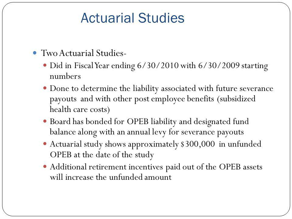 Actuarial Studies Two Actuarial Studies- Did in Fiscal Year ending 6/30/2010 with 6/30/2009 starting numbers Done to determine the liability associate