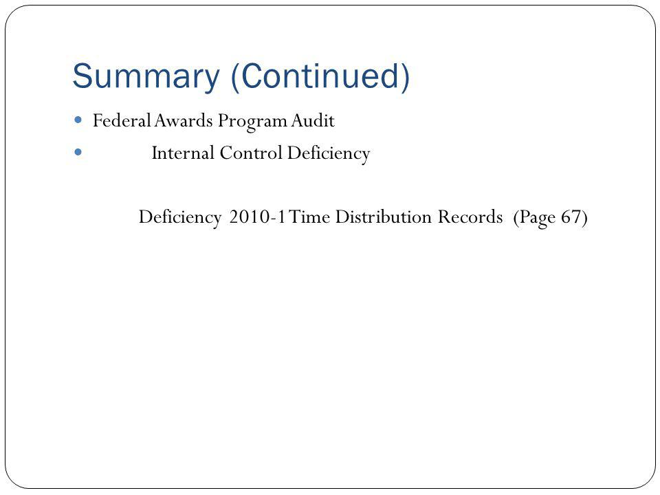 Summary (Continued) Federal Awards Program Audit Internal Control Deficiency Deficiency 2010-1 Time Distribution Records (Page 67)