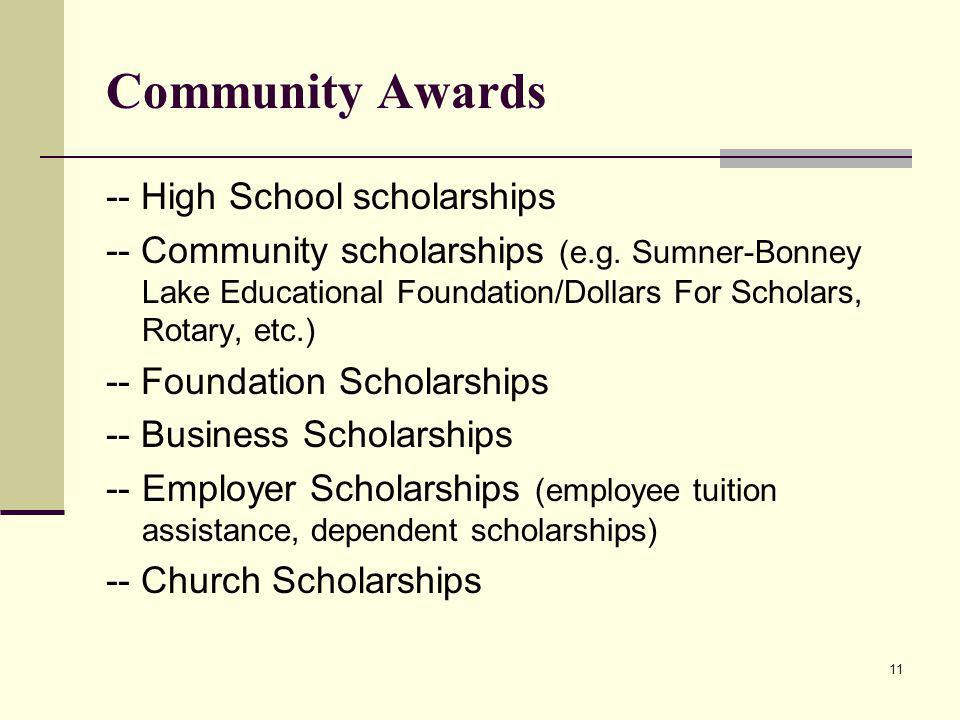 Community Awards -- High School scholarships -- Community scholarships (e.g.