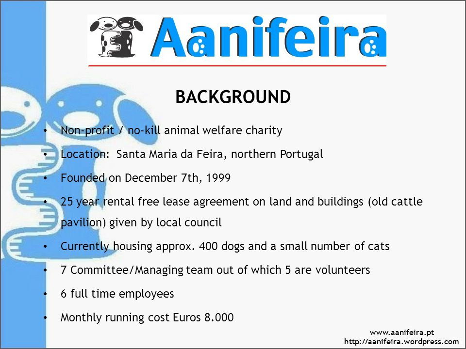 BACKGROUND Non-profit / no-kill animal welfare charity Location: Santa Maria da Feira, northern Portugal Founded on December 7th, 1999 25 year rental free lease agreement on land and buildings (old cattle pavilion) given by local council Currently housing approx.