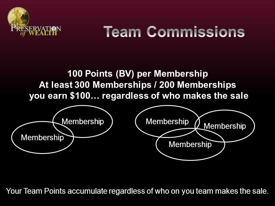 Membership $100 for Personal Referrals No qualification… you make the referral… you get the commission.