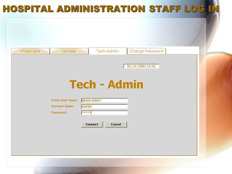 HOSPITAL ADMINISTRATION STAFF LOG IN