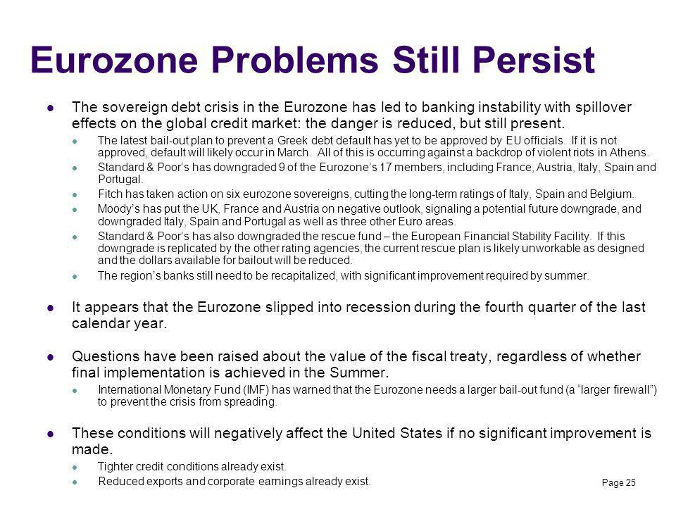 Eurozone Problems Still Persist The sovereign debt crisis in the Eurozone has led to banking instability with spillover effects on the global credit m