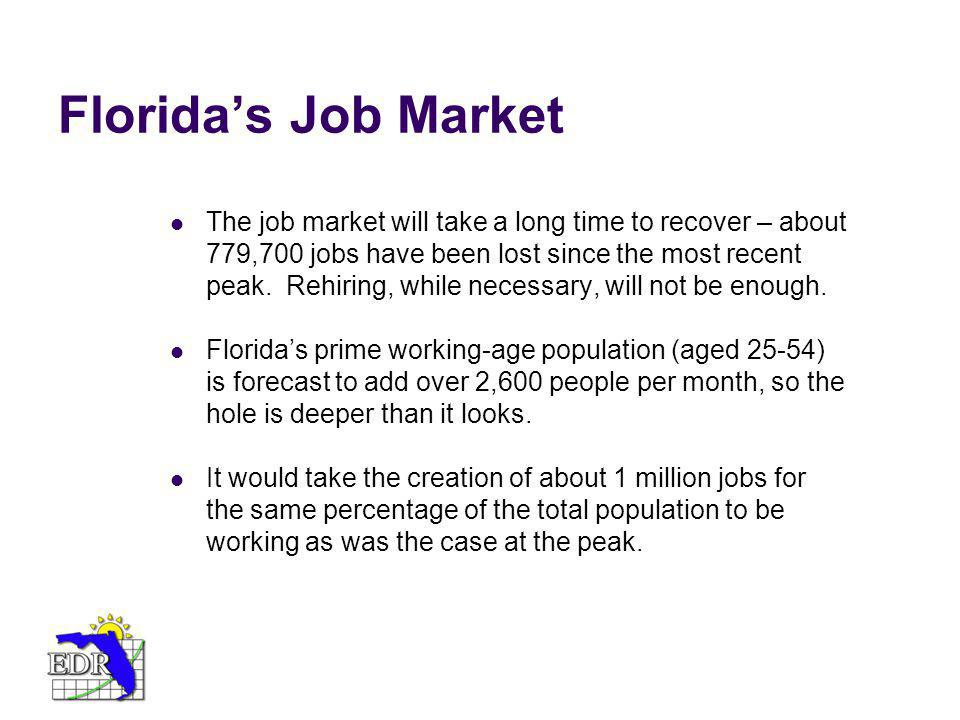 Floridas Job Market The job market will take a long time to recover – about 779,700 jobs have been lost since the most recent peak. Rehiring, while ne