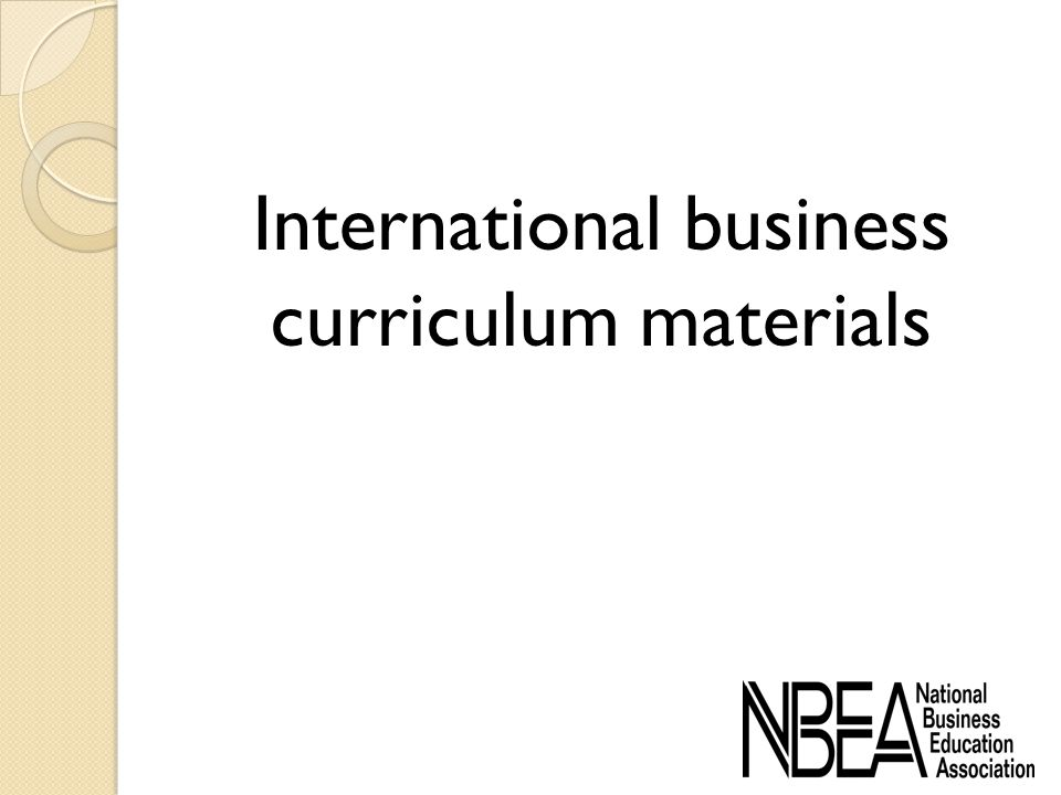 International business curriculum materials