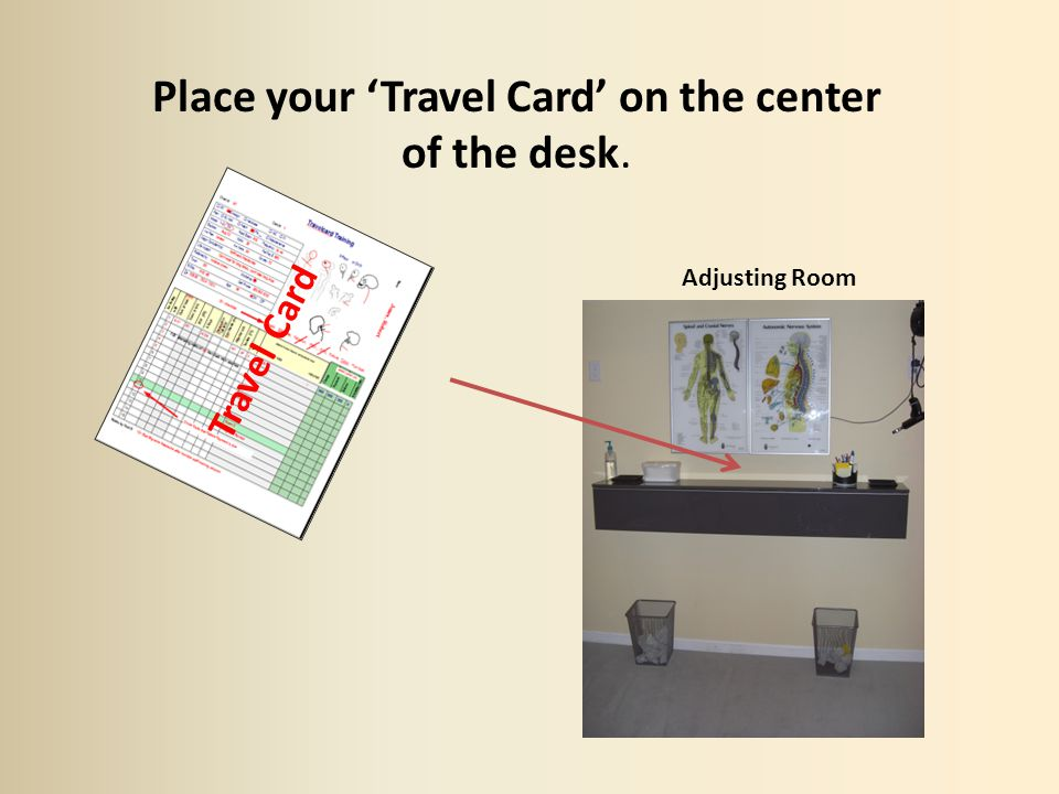 Place your Travel Card on the center of the desk. Travel Card Adjusting Room