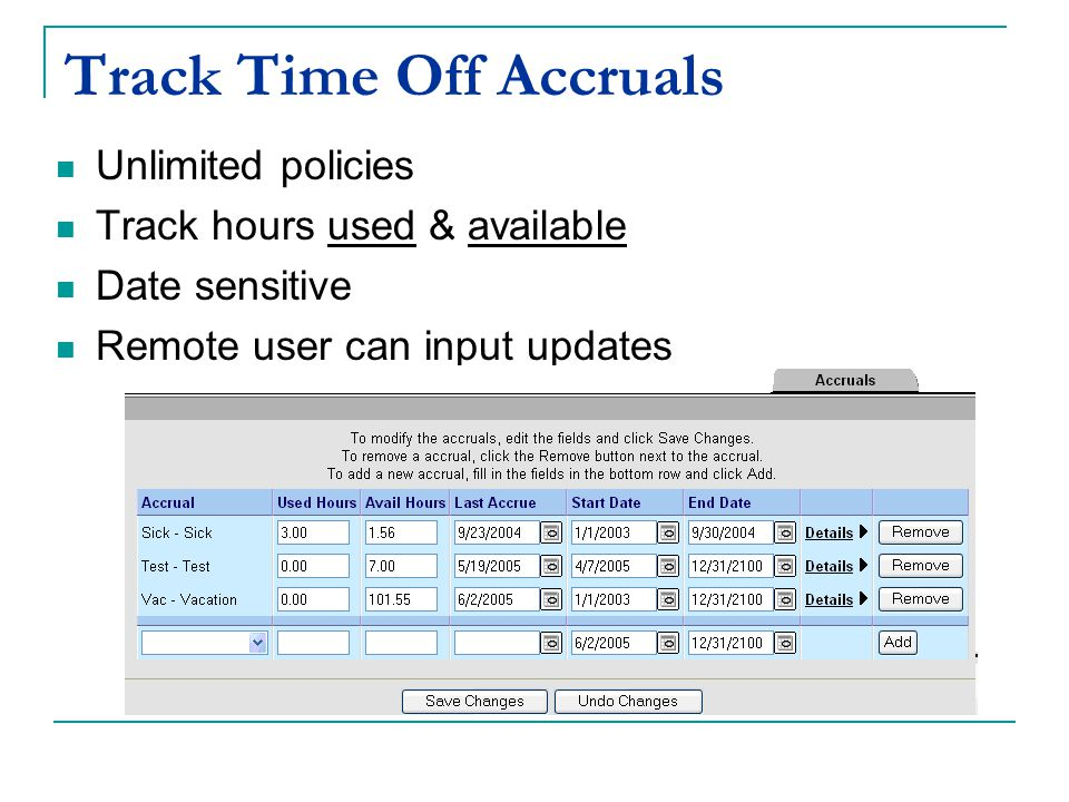Track Time Off Accruals Unlimited policies Track hours used & available Date sensitive Remote user can input updates