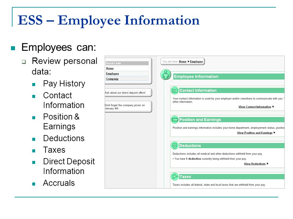 ESS – Employee Information Employees can: Review personal data: Pay History Contact Information Position & Earnings Deductions Taxes Direct Deposit Information Accruals