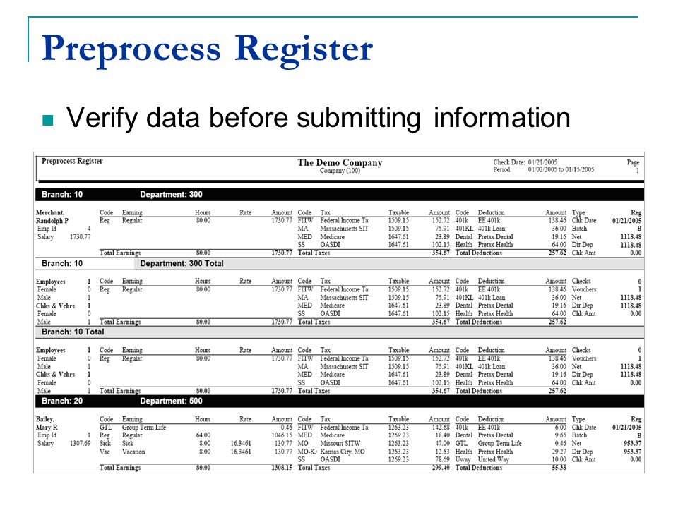Preprocess Register Verify data before submitting information