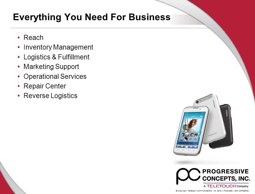 © Copyright Teletouch Communications, Inc. 2012 – Proprietary and Confidential Everything You Need For Business Reach Inventory Management Logistics &