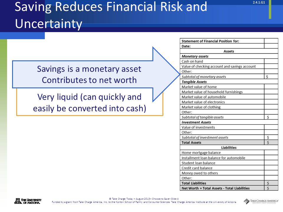 2.4.1.G1 © Take Charge Today – August 2013– Choose to Save– Slide 4 Funded by a grant from Take Charge America, Inc.