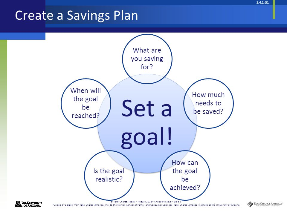 2.4.1.G1 © Take Charge Today – August 2013– Choose to Save– Slide 9 Funded by a grant from Take Charge America, Inc. to the Norton School of Family an