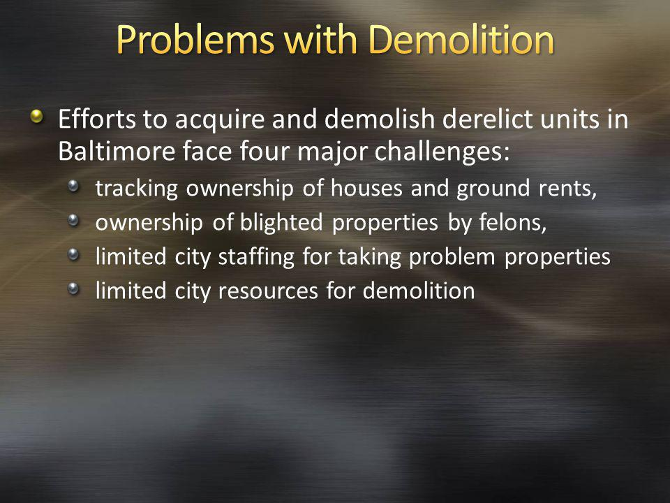 Efforts to acquire and demolish derelict units in Baltimore face four major challenges: tracking ownership of houses and ground rents, ownership of blighted properties by felons, limited city staffing for taking problem properties limited city resources for demolition