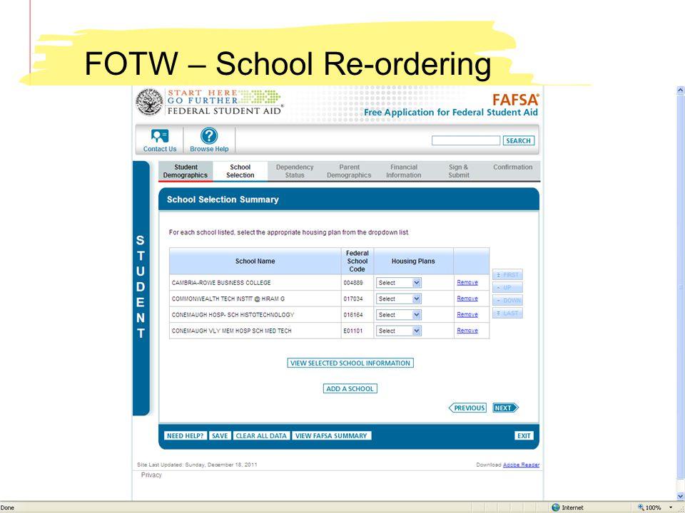 FOTW – School Re-ordering