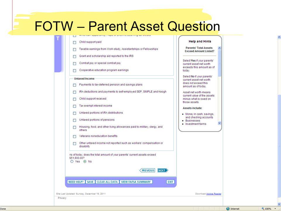 FOTW – Parent Asset Question